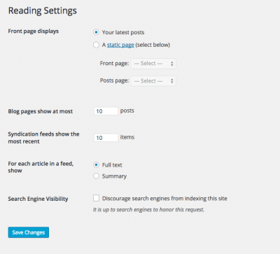 Default Reading Settings on WordPress