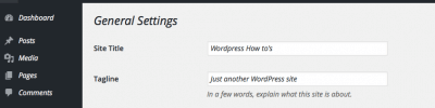 Wordpress General Setting Screen