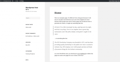 Wordpress Installed with Home page set to Home Pages