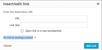 Or link to existing content highlighted in wordpress editor