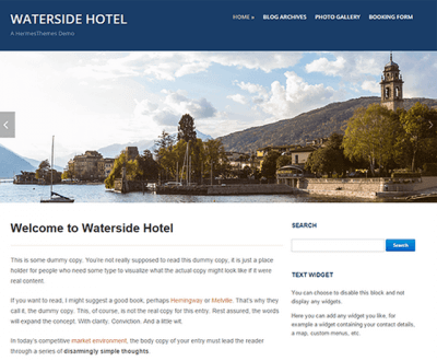 Wordpress tutorials Waterside Theme active