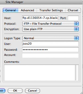 connecting to ftp using hostname username and password filezilla