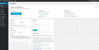 new wordpress dashboard freshly installed for your website