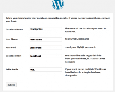 enter your details to create wordpress database